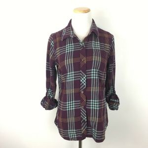 Lucky Brand Women's Purple Plaid Long Sleeve Shirt